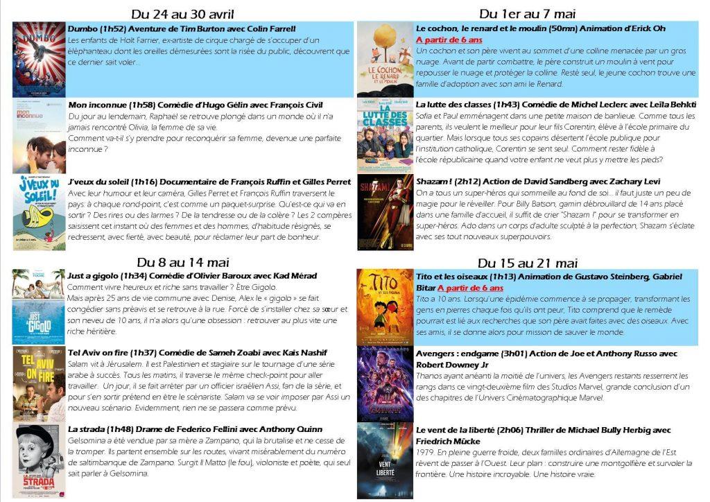 Les films en mai