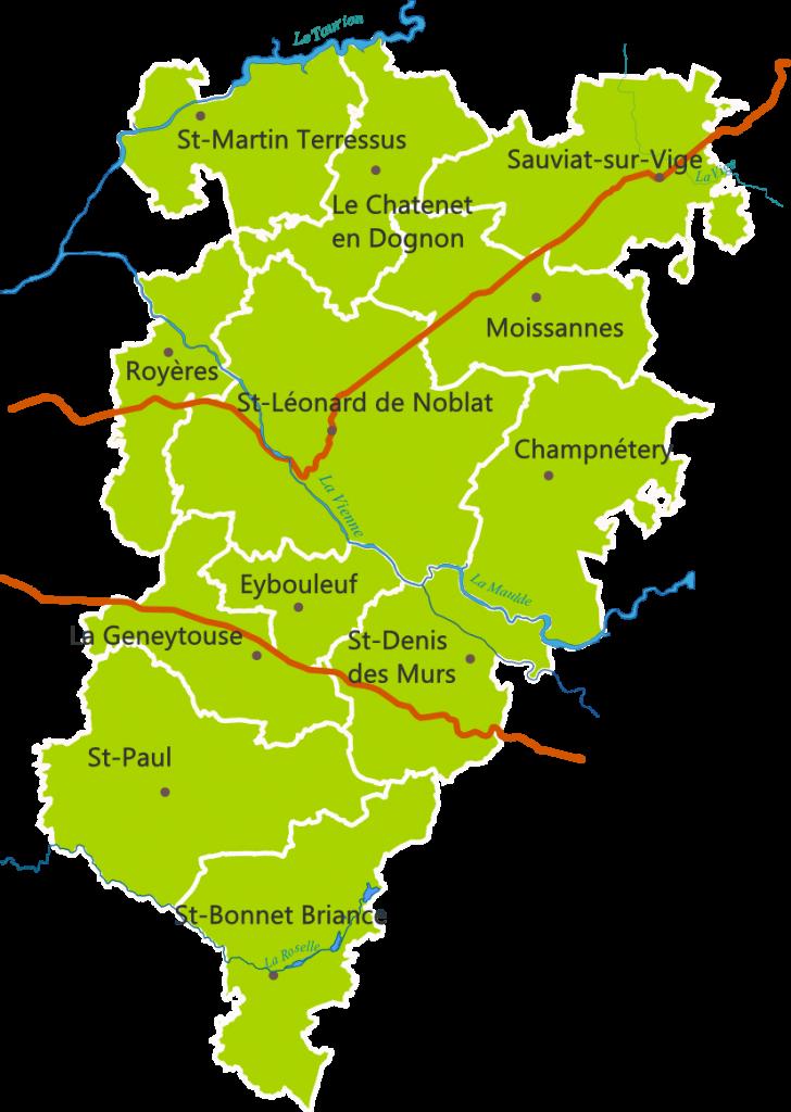Carte touristique du territoire de Noblat