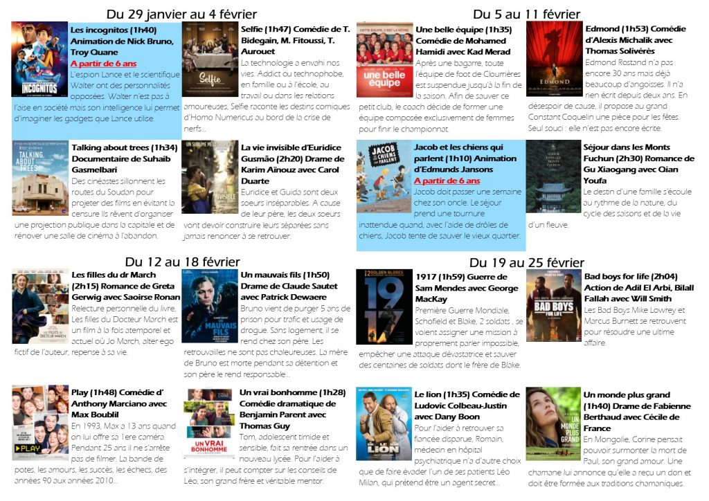 Les films en février