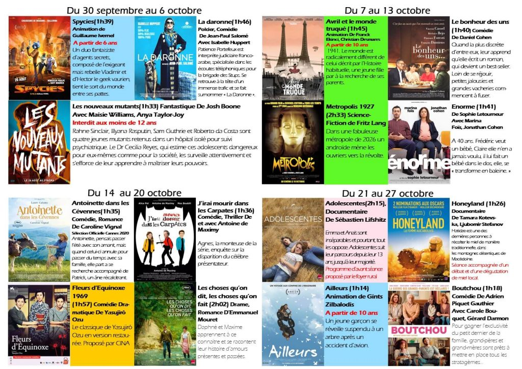 Films en octobre
